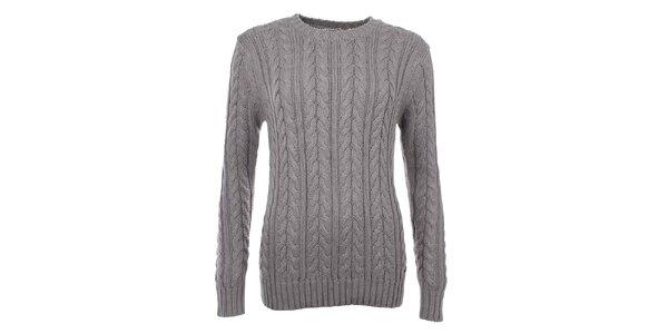 Dámský svetr s copánkovým vzorem v šedé barvě Timeout