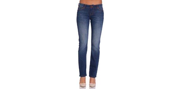 Dámské modré džíny s jmeným šisováním Galvanni