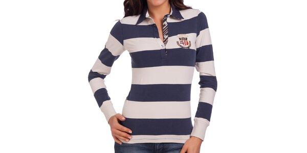 Dámské modro-bílé pruhované polo tričko s dlouhým rukávem Galvanni