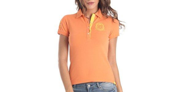Dámské oranžové polo se žlutými prvky Galvanni