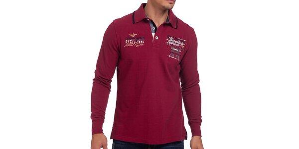 Pánské tmavě červené polo triko s dlouhým rukávem Galvanni