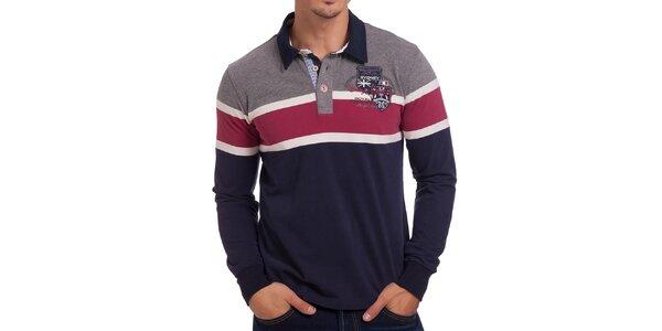 Pánské pruhované červeno-šedo-modré polo tričko Galvanni