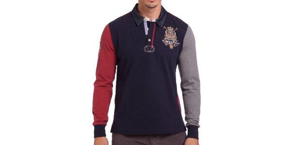 Pánské tmavomodré polo tričko s červeným rukávem Galvanni