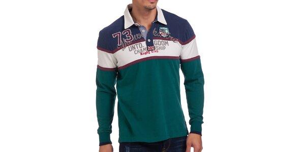 Pánské smaragdové polo tričko s pruhy Galvanni