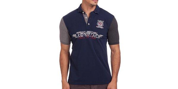 Pánské modré polo tričko s krátkými rukávy Galvanni