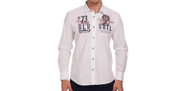 Pánská bílá košile s dlouhým rukávem Galvanni