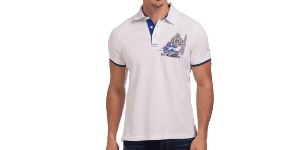 Pánské bílé triko s nápisem na zádech Galvanni