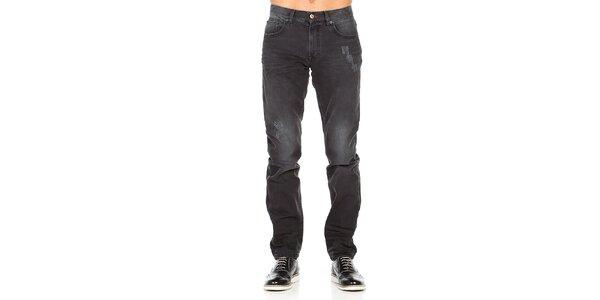 Pánské černé džíny s šisováním a oděrkami Galvanni