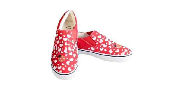 Dámské červené boty se srdíčky a beruškou The Bees