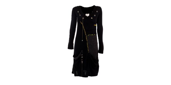 Dámské černé šaty s cvočky a žlutými detaily DY Dislay Design