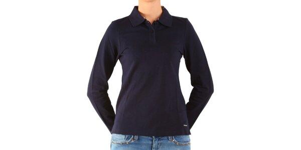 Dámské tmavě modré polo Calvin Klein s dlouhým rukávem