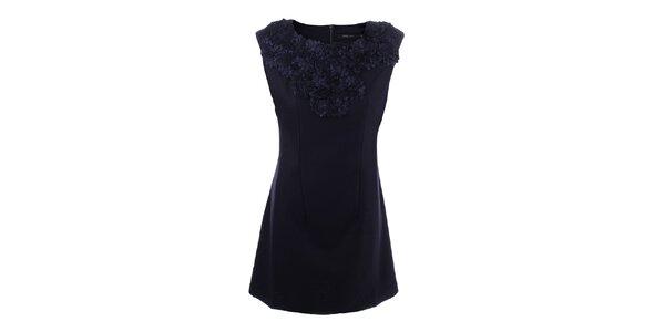 Dámské modré šaty s květinovým výstřihem Dislay DY Design