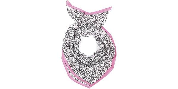 Dámský vzorovaný bílo-černo-růžový šátek Fraas