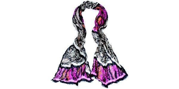 Dámský dlouhý vzorovaný bílo-černo-růžový šátek Fraas