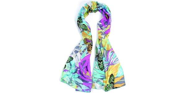 Dámský barevně vzorovaný hedvábný šátek Fraas