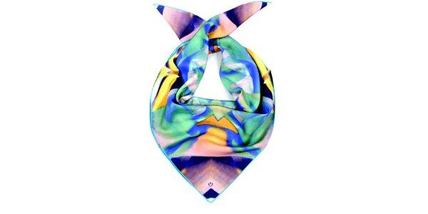 Dámský azurovo-žlutý hedvábný šátek Fraas