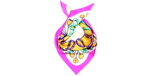 Dámský vzorovaný hedvábný šátek s růžovým lemem Fraas