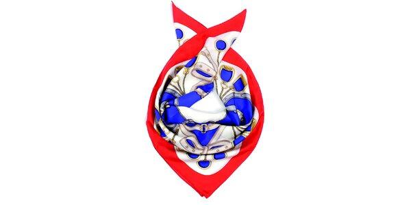Dámský vzorovaný hedvábný šátek s červeným lemem Fraas