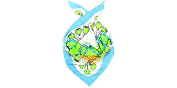 Dámský vzorovaný hedvábný šátek s modrým lemem Fraas