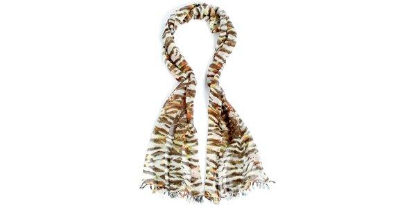 Dámský zebrovaný dlouhý šátek Fraas