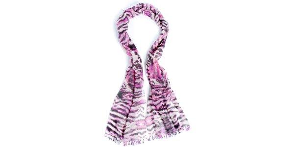 Dámský růžově zebrovaný dlouhý šátek Fraas