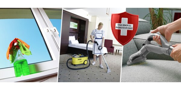 Profesionální úklid nebo mytí oken v délce 2 hodin či strojní čištění sedací…
