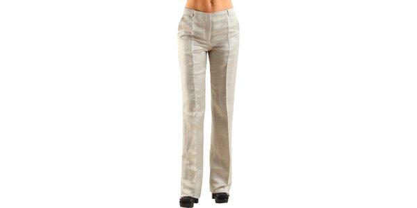Dámské béžové lněné kalhoty Calvin Klein s puky
