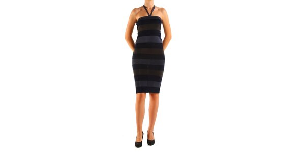 Dámské šedo-černé proužkované šaty Calvin Klein