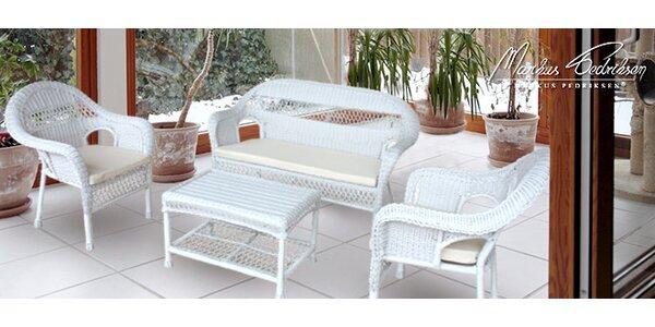 Set 2 bílých křesel, pohovky a stolu Madrid
