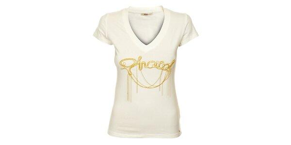 Dámské bílé tričko Phard se zlatou aplikací