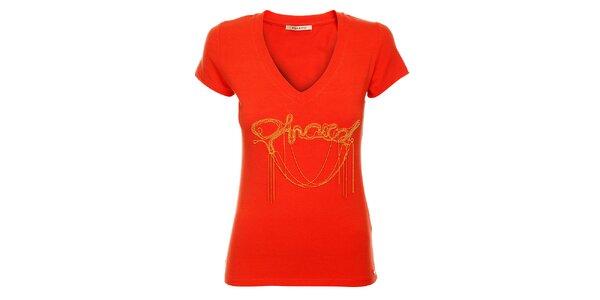 Dámské červené tričko Phard se zlatou aplikací