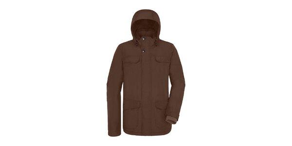 Pánská delší hnědá bunda s kapucí Maier