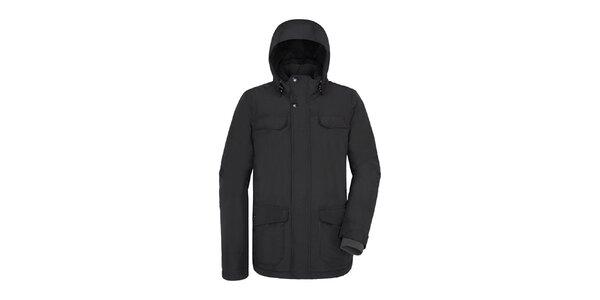 Pánská delší černá bunda s kapucí Maier