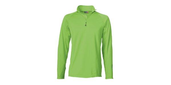 Pánské zelené lyžařské triko s dlouhým rukávem Maier