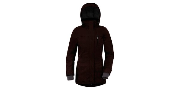 Dámský tmavě hnědý kabát s kapucí a náprsní kapsou Maier