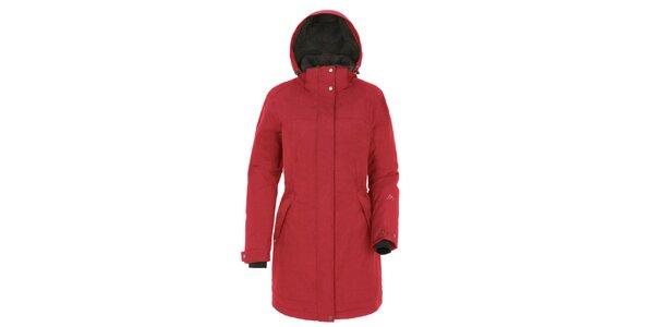 Dámský červený kabát s kapucí Maier