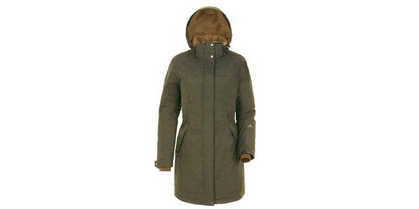 Dámský khaki kabát s kapucí Maier
