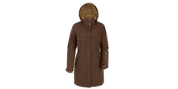 Dámský hnědý kabát s kapucí Maier