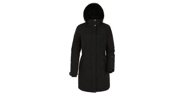 Dámský černý kabát s kapucí Maier