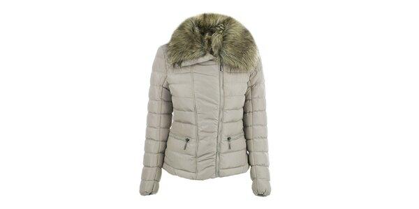 Dámská béžová bunda s velkým límcem B.style