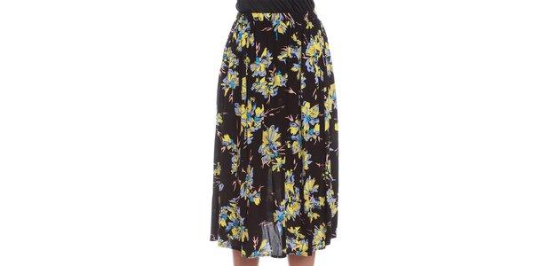 Dámská černá sukně s květinovým vzorem Oriana