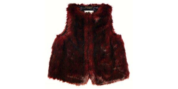 Dětská tmavě červená kožešinová vesta Pepe Jeans