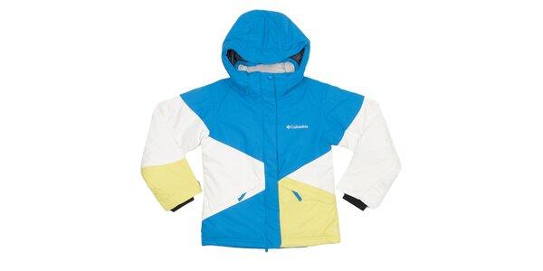 Dětská modro-bílo-žlutá bunda Columbia s membránou