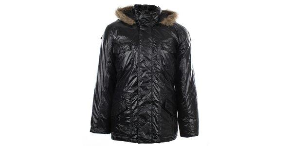 Pánská černá bunda s kožíškem Big Star
