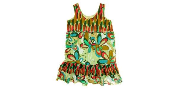 Dětské zeleno-červené šaty s květinovým potiskem Peace&Love