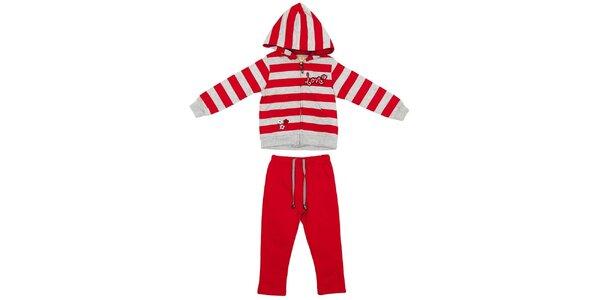 Dětský červeno-šedý set kalhot a mikiny Yatsi