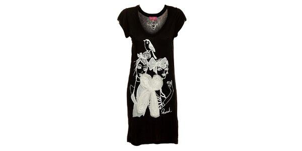 Dámské dlouhé černé tričko Phard s potiskem a velkou bílou mašlí