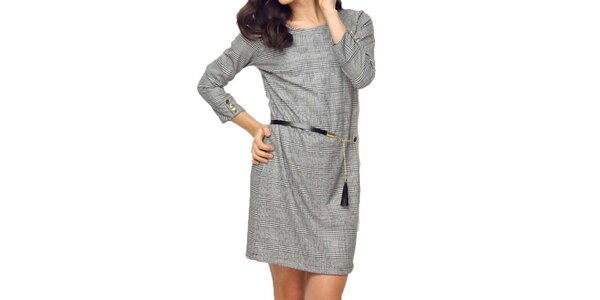 Dámské šedé kárované šaty Deck
