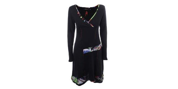 Dámské černé šaty s barevnými knoflíčky Dislay DY Design