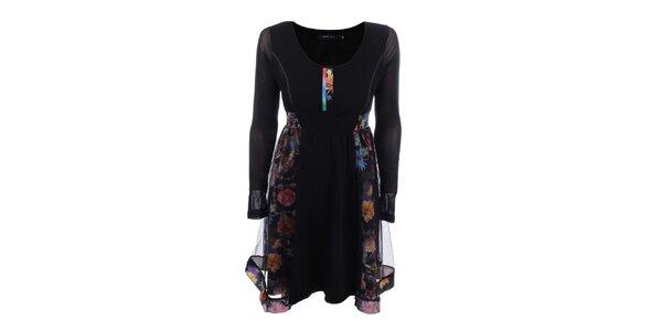 Dámské černé šaty s barevnými květinami Dislay DY Design